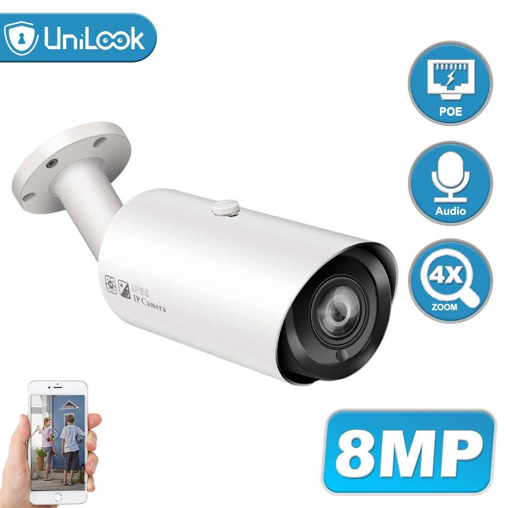 Caméra IP POE 8 mp UniLook | Prise en charge, 4X Zoom, Microphone intégré, fente carte SD, caméra de sécurité extérieure IP66 ONVIF H.265