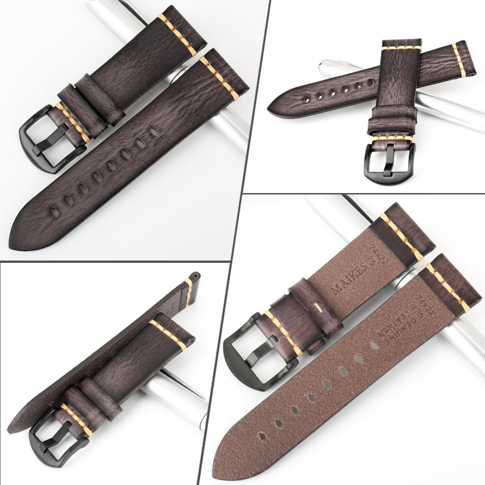 Image 2 - MAIKES Handmade Watch Band 20mm 21mm 22mm 23mm 24mm Leather Watchband For Panerai Omega Rolex Hamilton Watch StrapWatchbands   -