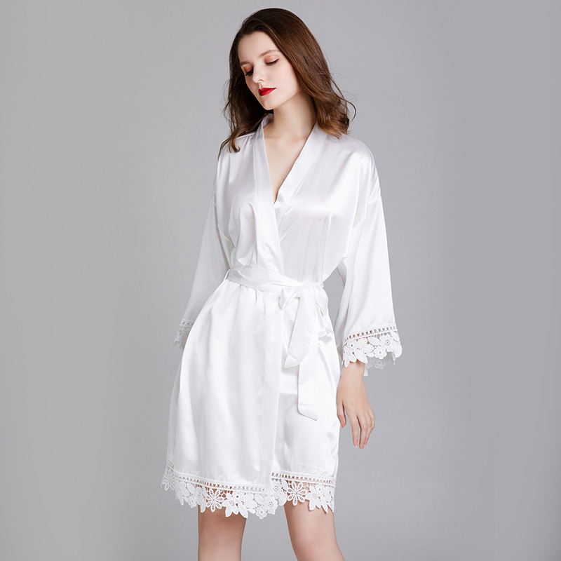 Bride Bridesmaid Wedding Robe Casual Women Kimono Gown Bathrobe Gown Soft Satin Sleepwear Nightdress Solid White Home Colthes