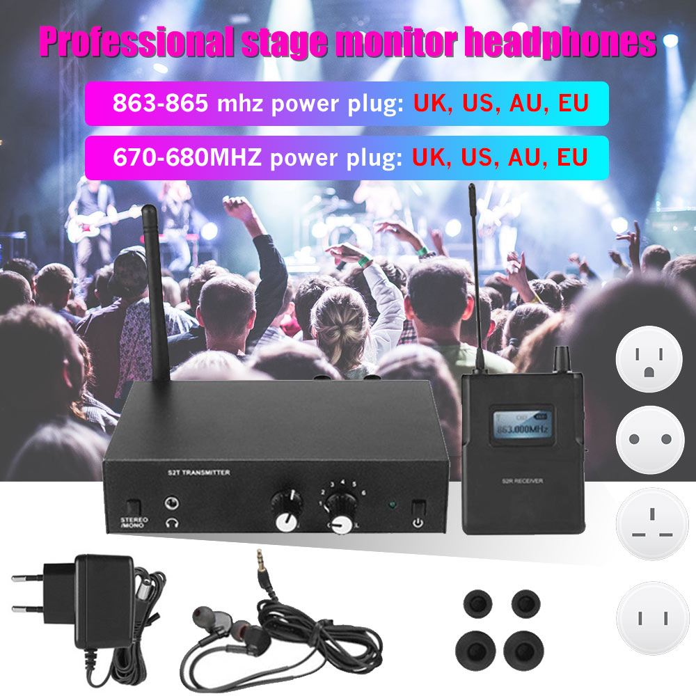 2019 For ANLEON S2 UHF Stereo Wireless Monitor System 863-865MHZ 100-240V Professional Digital Stage In-Ear Monitor System Kit