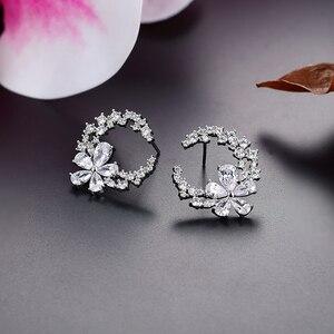 Image 3 - Son tasarım çiçek küpe mizaç basit moda metal kadın dekoratif kristal zirkon küpe kız sevgilisi düğün