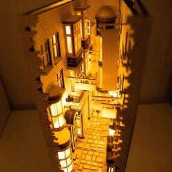 DIY KIY Diagon Alley Wooden Book Nook Art Bookends Removable Handmade Book Decoration Castle Building Bookshelf Birthday Gift