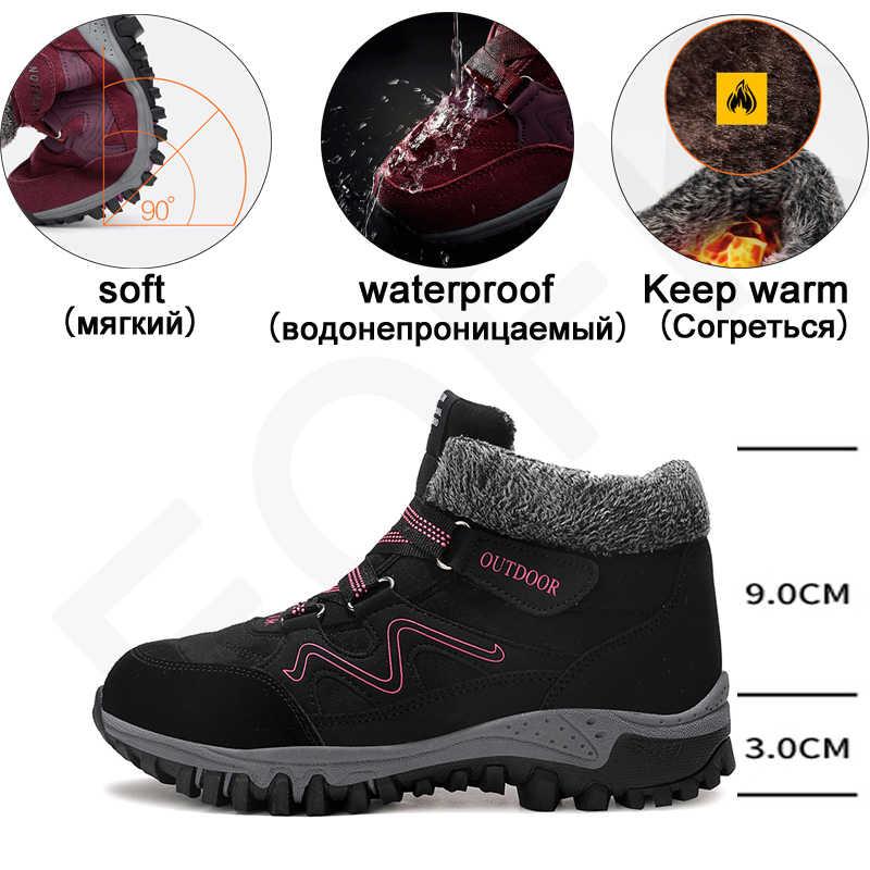 EOFK hiver femmes bottes femme dame en cuir véritable chaud plate-forme fourrure imperméable neige baskets en peluche mode bottes décontractées