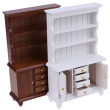 2Colors 1/12 Dollhouse Miniature Furniture Multifunction Wood Cabinet Bookcase Bookshelf for Pretend Play Toy