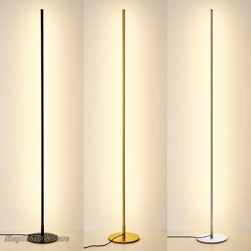 Nordic Minimalist LED โคมไฟขาตั้งโคมไฟสำหรับห้องนั่งเล่น LED สีดำโลหะ Luminaria โคมไฟยืน Lampara ติดตั้ง