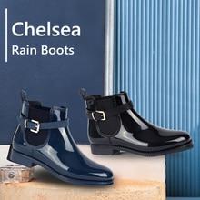 MaxMuxun Botas de lluvia de goma para mujer, botines de nieve informales con flecos negros, impermeables, calzado grueso sin cordones