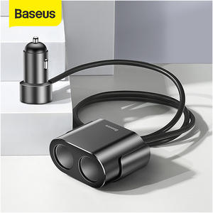 Baseus Splitter Car-Charger-Adapter Cigarette-Lighter Charging Dual-Usb 100W for Phone