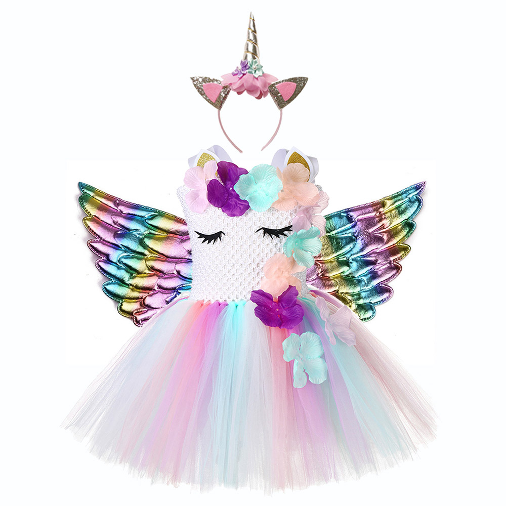 Cute Floral Unicorn Party Girls Dress Kids Halloween Costumes for 1 Year Birthday with Headband Wing