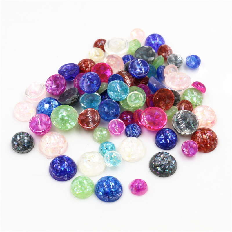 New Style 40pcs 6mm 8mm 10 Mm Mix Colors Built-in Real Shells Style Flat Back Resin Cabochons Fit 6 8 10mm Cameo Base Cabochons