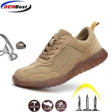 DEWBEST/рабочие ботинки из натуральной кожи; Модные Повседневные кроссовки с защитой от проколов; легкая дышащая защитная обувь для мужчин