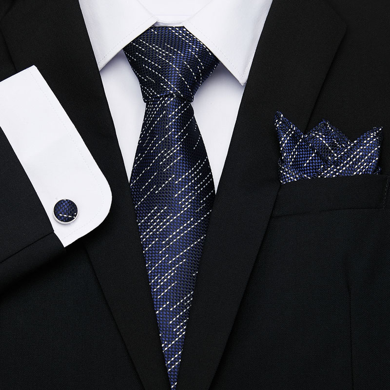 Men s Tie 100 Silk Blue Plaid print Jacquard Woven Tie Hanky Cufflinks Sets For Formal Wedding Business Party Free Postage in Men 39 s Ties amp Handkerchiefs from Apparel Accessories