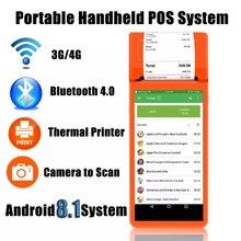 Sdk livre portátil portátil do wifi 3g do varredor bluetooth4.0 do código de barras do pda do terminal handheld da posição de android com construído na impressora térmica
