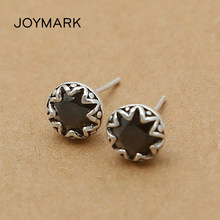 S925 Sterling Silver Fashion Jewelry Thai Silver Stud Earrings Simple Style Men And Women Personalized Earrings TSE448(China)