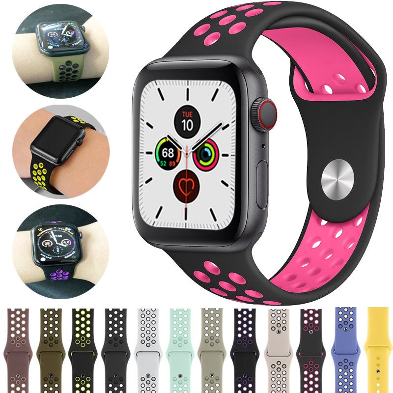 silicone Strap for Apple watch band 42mm 38mm correa iwatch 4 3 2 44mm 40mm sport band bracelet pulseira apple watch accessories Pakistan