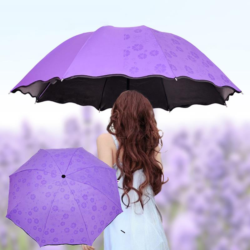 3-Folded 8 Bones Magic Flower Dome Sunshade Umbrella Dustproof Anti-UV Umbrella Courtyard Portable Umbrella Rainy Day