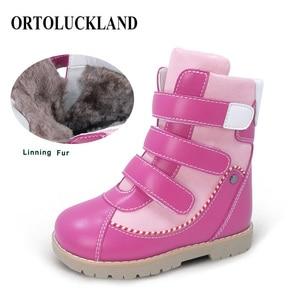 Image 2 - Детские высокие корректирующие ортопедические ботинки, зимняя обувь с меховым подкладом из микрофибры, кожаные зимние сапоги для мальчиков и девочек