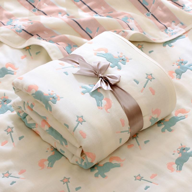 6 camadas 110x110 super macio grosso algodao musselina cobertor swaddle cobertor unicornio carrinho de crianca capa