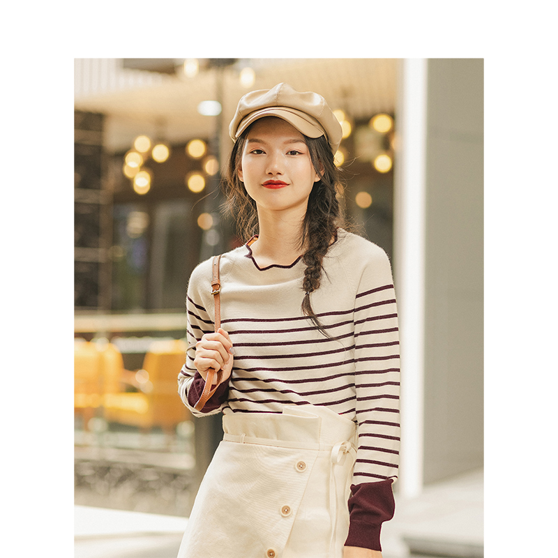 Image 2 - INMAN Spring Autumn Lace O neck Minimalism All Matched Slim Literary Striped Women PulloverPullovers   -