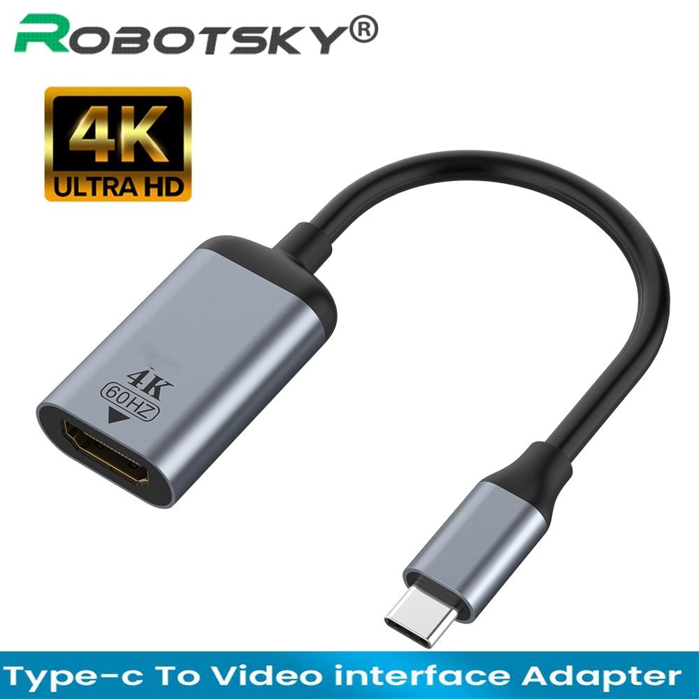 4k usb c para vga/dp/hdmi-compatível/mini dp cabo tipo c para hdmi thunderbolt 3 adaptador para macbook pro samsung s20 4k uhd USB-C