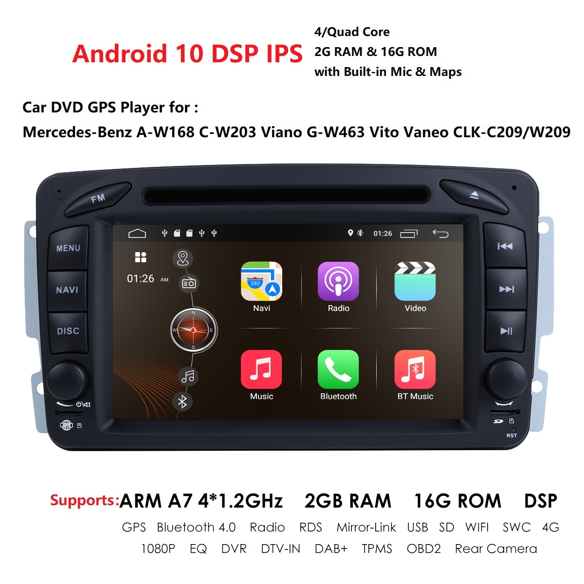 7 Inch Android 10 2 Din 4 Core IPS <font><b>Car</b></font> <font><b>radio</b></font> DVD player For <font><b>Mercedes</b></font> Benz CLK W209 W203 <font><b>W208</b></font> W463 Mirror Link DAB+ DSP 2GB 16GB image