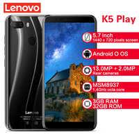 Lenovo K5 Play Smartphone L38011 3GB 32GB 4G 5.7'' Snapdragon MSM8937 Octa Core Rear Camera 13MP+2MP Front Camera 8MP Cellphones