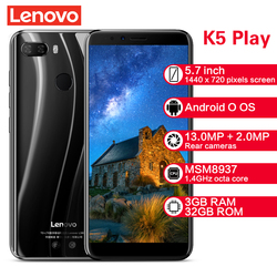 Lenovo K5 Play Smartphone L38011 3GB 32GB 4G 5.7'' Snapdragon MSM8937 Octa Core Rear Camera 13MP+2MP Front Camera 8MP Cellphones