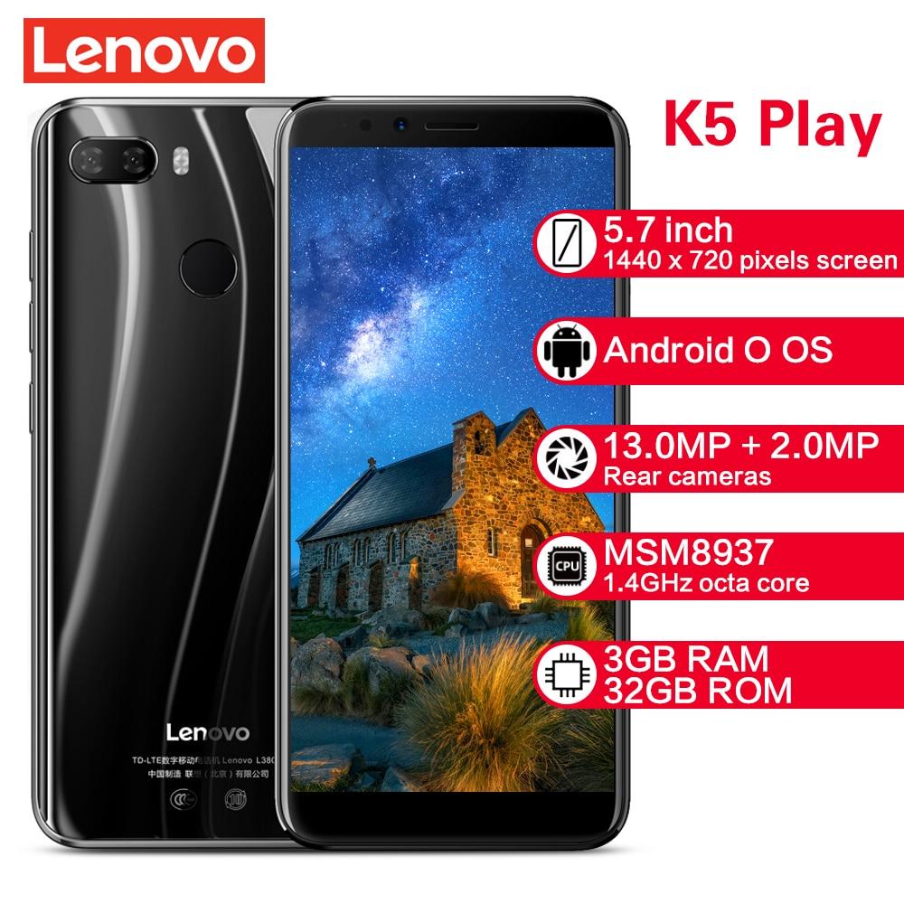 Lenovo K5 Play Smartphone L38011 3GB 32GB 4G 5.7 ''Snapdragon MSM8937 Octa Core caméra arrière 13MP + 2MP caméra frontale 8MP téléphones portables
