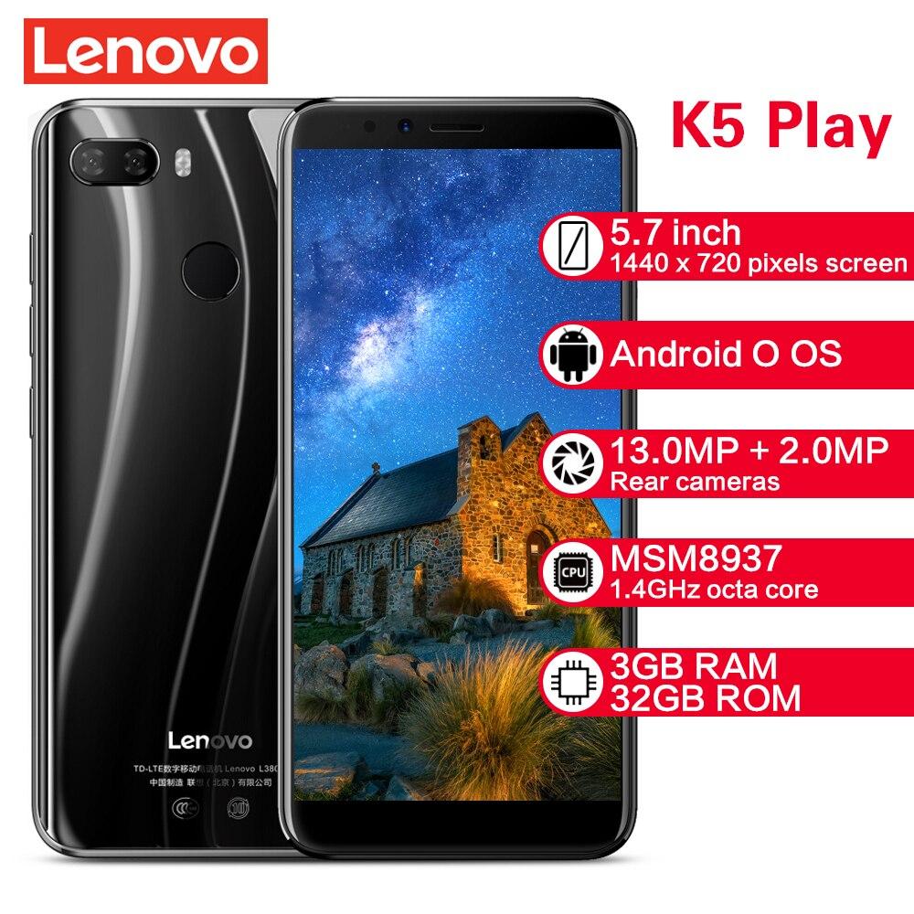 Lenovo k5 jogar smartphone l38011 3 gb 32 gb 4g 5.7 snapsnapsnapdragon msm8937 octa núcleo câmera traseira 13mp + 2mp câmera frontal 8mp celulares