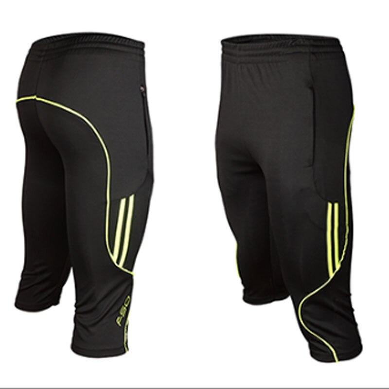 2019 3/4 Length Men Soccers Trainings Pants Slim Skinny Leg Track Short Pant Breathable Male Active Capris Runs Footballs Pant