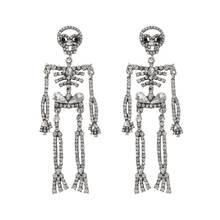 1 пара длинные висячие серьги с черепом и кристаллами стразы