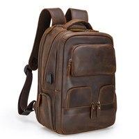 MAHEU Leder Rucksack der männer männliche große kapazität reisetasche der herren outdoor tasche mit usb verbinden crazy horse leder tasche