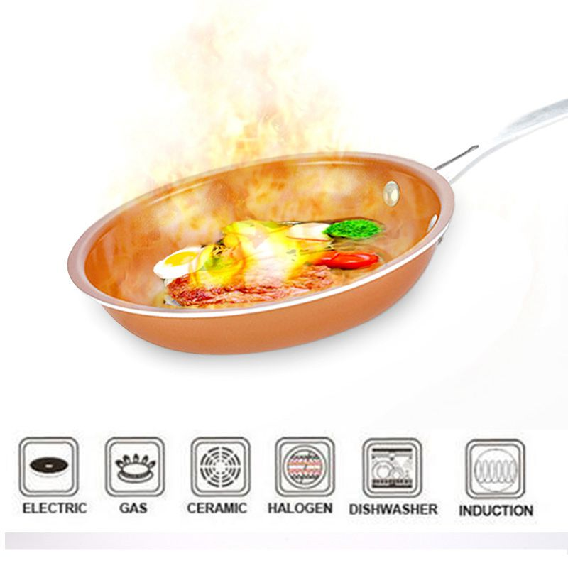 Non-Stick Frying Pan Copper Red Pan Induction Frying Pan Frying Pan Saucepan Oven Dishwasher Safe 8 Inch Anti-Baking Frying Pan