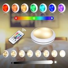 Led luz do armário de carregamento usb rgb 16 cor puck pode ser escurecido sob prateleira contador da cozinha iluminação controle remoto lâmpada noite