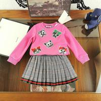 2 PCS Luxry brand design Baby girl clothes new female baby set children's plaid printing knit suit pink girls 100% cotton skirt