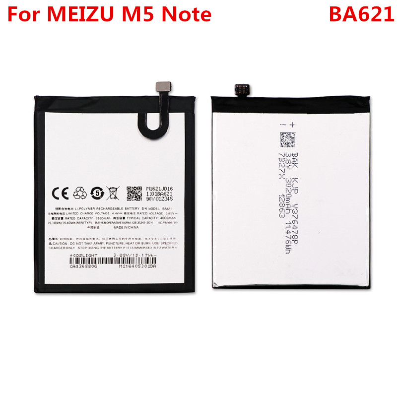 M5Note Original Battery For <font><b>Meizu</b></font> M5 Note M621Q/M <font><b>BA621</b></font> 4000mAh Replacement Backup Li-ion Polymer Phone Battery Repair Parts image