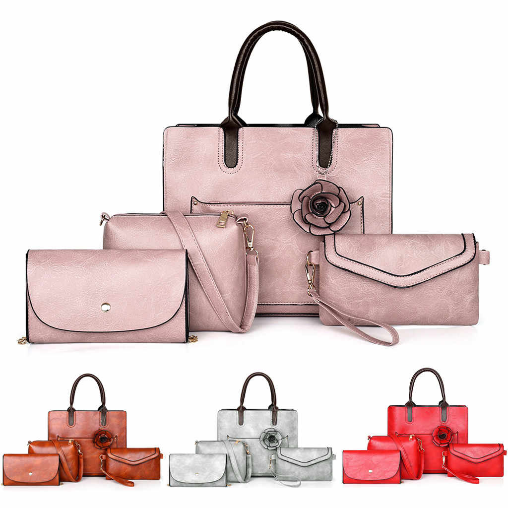 4Pcs Women bag Flower Leather Handbags Women messenger Shoulder bag Card Package Crossbody Bags Big Tote Sac A Main bolso mujer