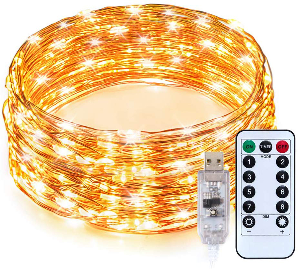 5/10/20M String Copper Wire LED Christmas Light Ourdoor Remote Fairy Lights Battery/ USB Garland For Party Home  Wedding Decor