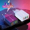 Зарядное устройство USB для смартфона, 3 порта, быстрая зарядка для iPhone 12 Xiaomi, адаптер для мобильного телефона Huawei Samsung s10, настенные зарядные у...