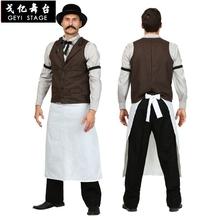 Nowy barman jednolite Halloween kostiumy męskie kostiumy karnawałowe cosplay kelner impreza przebierana dla dorosłych tanie tanio Spodnie Film i TELEWIZJA Zestawy Bar Waiter COTTON Conjuntos Fantasias Fancy costume