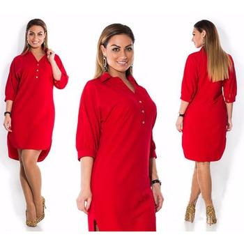 Oversized Shirt Dress Women Casual Clothes Summer Autumn 3/4 Sleeve Solid Color Irregular Dress 5XL 6XL Plus Size Lady Vestidos