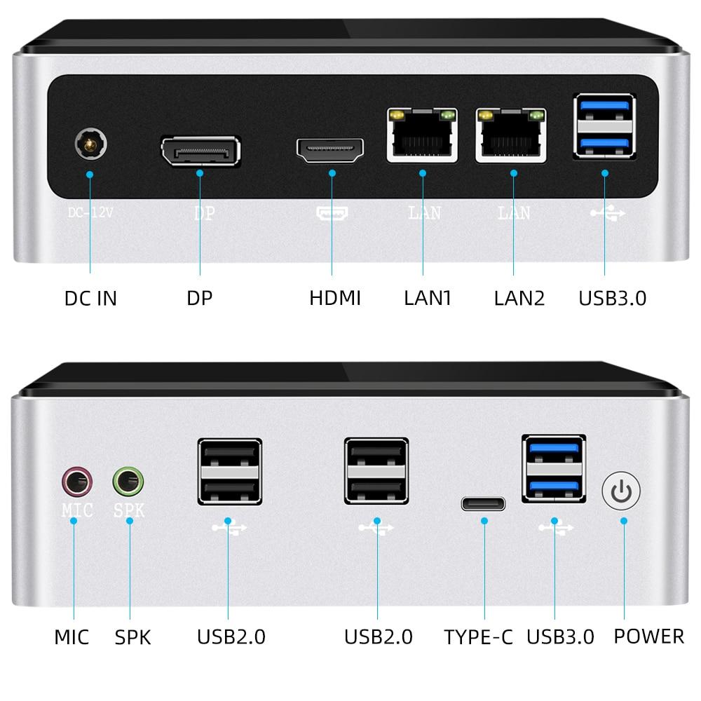 Mini PC Intel Core i7 10510U 2*DDR4 M.2 SSD NVMe Windows 10 Dual-Band WiFi Bluetooth 4.0 HDMI DP 4K 60Hz USB Type-C 2*Ethernet-5
