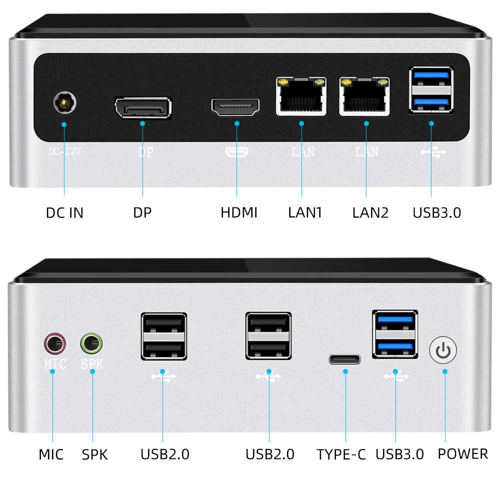 Mini pc intel core i7 10510u 2 * ddr4 m.2 ssd nvme windows 10 dupla-faixa wifi bluetooth 4.0 hdmi dp 4k 60hz usb tipo-c 2 * ethernet