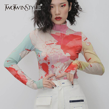 Women's T-Shirt Turtleneck Long-Sleeve Hit TWOTWINSTYLE Causal-Print Female Fashion