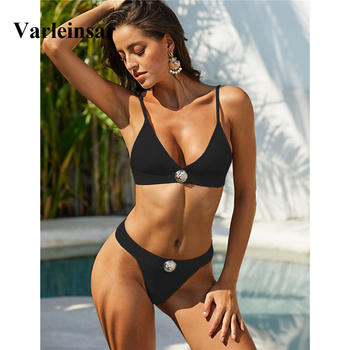 Sexy White Black Brazilian Bikini 2020 Women Swimwear Female Swimsuit Two-pieces Bikini set Bather Bathing Suit Swim Beach V1740 5