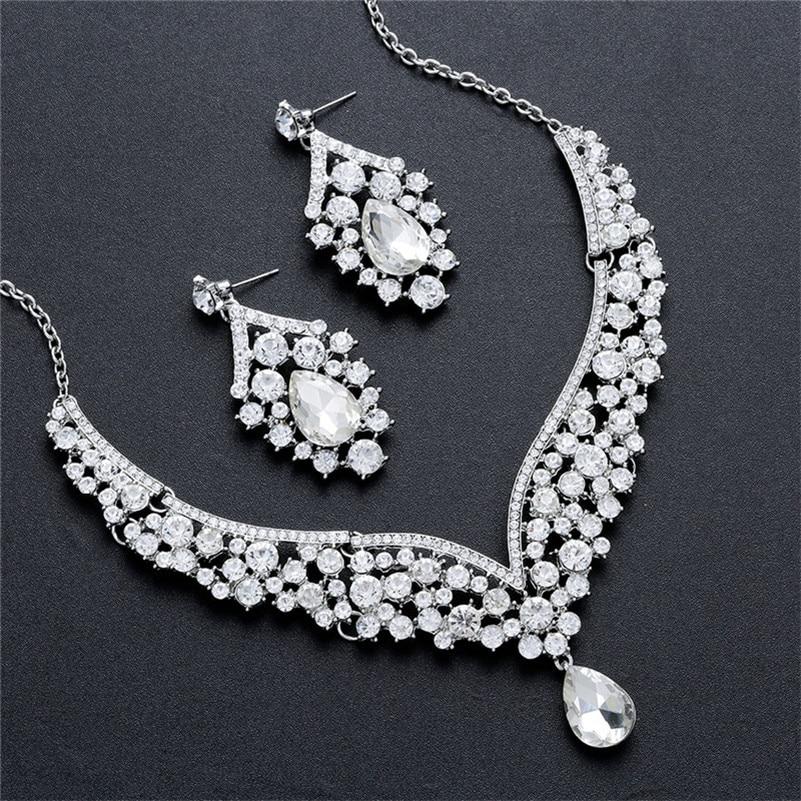 CC Jewelry Set Stud Earring Necklace Pendant Luxury Wedding Accessories For Bridal Women CZ Stone Water Drop Shape Chocker D022