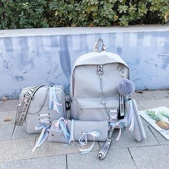5 unids/set mochila escolar para estudiantes mochila escolar para niños adolescentes mochila mujer mochila de viaje Moclila Book Backbag WBS745