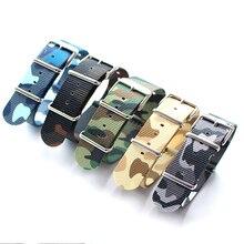 Ремешок нейлоновый в елочку для наручных часов, зеленый синий желтый серый Камуфляжный браслет для часов, в стиле милитари, 18 мм 20 мм 22 мм 24 м...