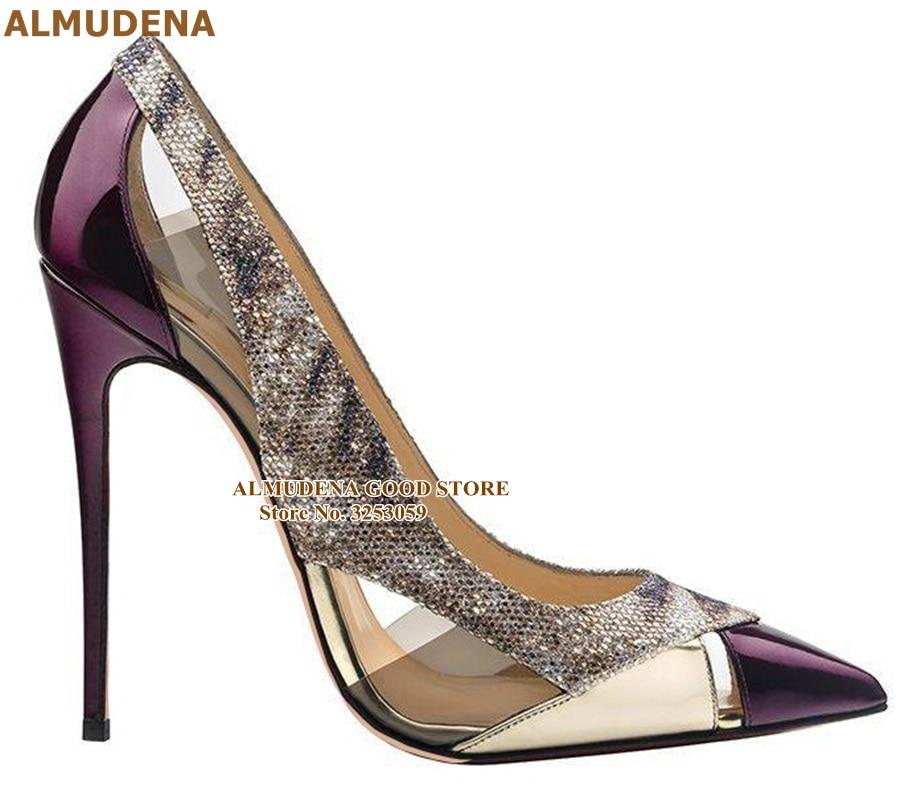 ALMUDENA Purple Patent Leather Pointed Toe Pumps 12 10 8cm Stiletto Heels Clear PVC Dress Shoes Glitter Sankeskin Patchwork Shoe
