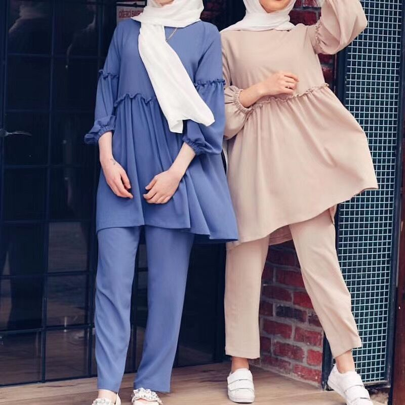 Ramadan Two Piece Set Muslim Women Sets Arab Turkey Islam Solid Tops and Long Pant Islamic