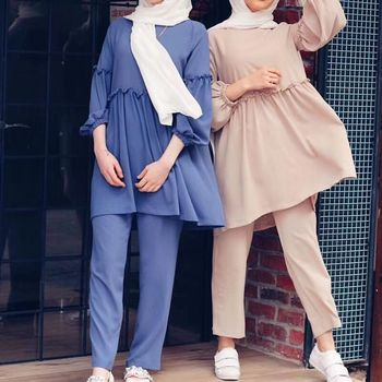 Ramadan Two Piece Set Muslim Women Sets Arab Turkey Islam Solid Tops and Long Pant